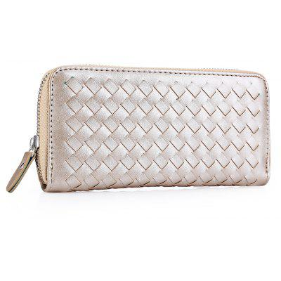 Guapabien Lady Weave Color Block Zipper Clutch Wallet