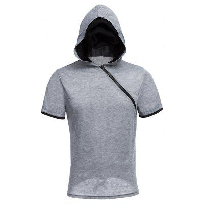 Buy GRAY Men Solid Color Inclined Zipper Design Hooded Shirts for $14.77 in GearBest store