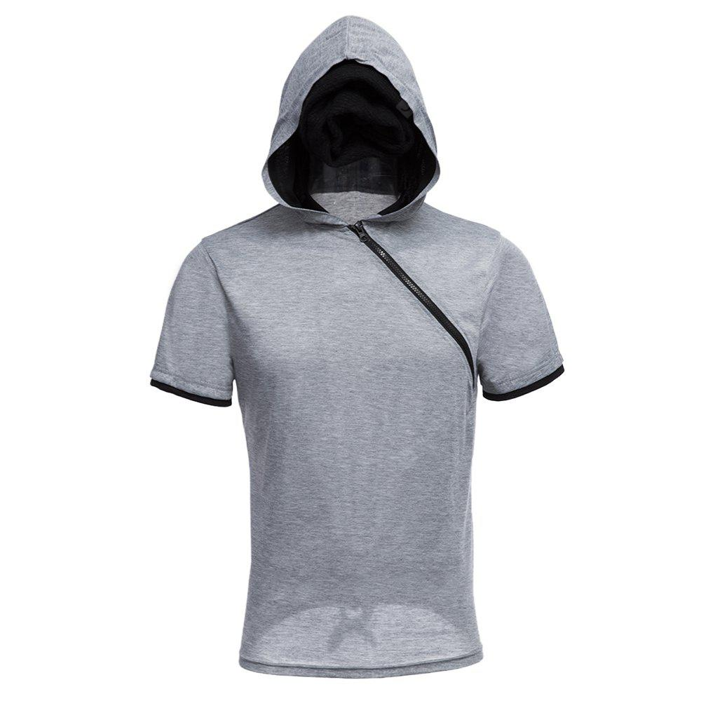 GRAY Men Solid Color Inclined Zipper Design Hooded Shirts