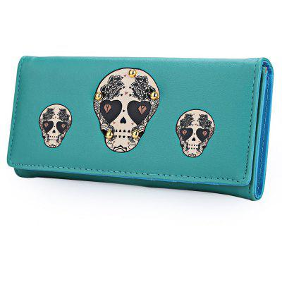 Skull Heart Plant Rivet Long Clutch Wallet