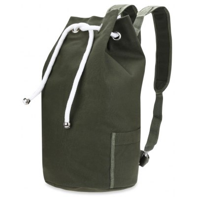 Drawstring Canvas Bucket Gym Bag Portable Men Backpack