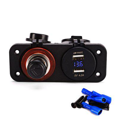IZTOSS C932 - Z Double Hole Panel Dual USB Port Cigarette Lighter