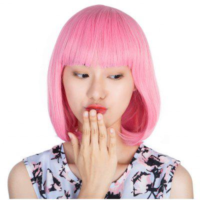 Short Straight Ladies BOB Hair Wig Peruca Cosplay with Cap