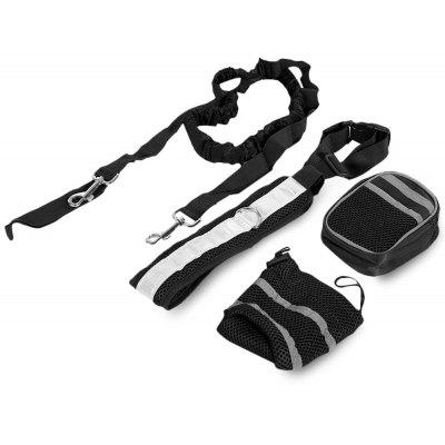 Nylon Four-piece Hands Free Pets Dog Elastic Leash with Reflective Belt