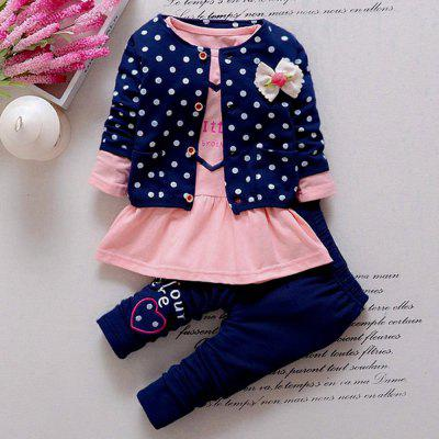 3pcs Girls Tops / Polka Dot Printed Coat / Trousersbaby clothing sets<br>3pcs Girls Tops / Polka Dot Printed Coat / Trousers<br><br>Closure Type: Pullover<br>Collar: Round Neck<br>Decoration: Pattern<br>Fabric Type: Broadcloth<br>Gender: Girl<br>Material: Cotton<br>Package Contents: 1 x Tops, 1 x Coat, 1 x Trousers<br>Season: Autumn<br>Sleeve Length: Full<br>Style: Sweet<br>Thickness: General<br>Weight: 0.315kg