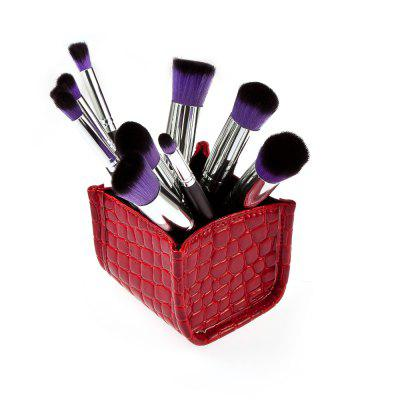 Crocodile Storage Box + 10pcs Makeup Brushes