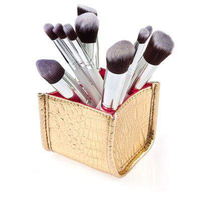 Pinceau de maquillage cosmétique 10Pcs avec motif Golden Alligator Pattern PU Box