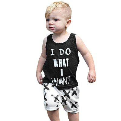 2pcs Trendy Kids Sleeveless T-shirt TrousersBoys Clothing Sets<br>2pcs Trendy Kids Sleeveless T-shirt Trousers<br><br>Closure Type: Pullover<br>Collar: Round Neck<br>Decoration: Pattern<br>Fabric Type: Broadcloth<br>Gender: Unisex<br>Material: Cotton<br>Package Contents: 1 x T-shirt, 1 x Trousers<br>Package size (L x W x H): 1.00 x 1.00 x 1.00 cm / 0.39 x 0.39 x 0.39 inches<br>Package weight: 0.167 kg<br>Pattern Style: Letter<br>Product weight: 0.113 kg<br>Season: Summer<br>Sleeve Length: Sleeveless<br>Sleeve Style: Regular<br>Style: Fashion<br>Thickness: General