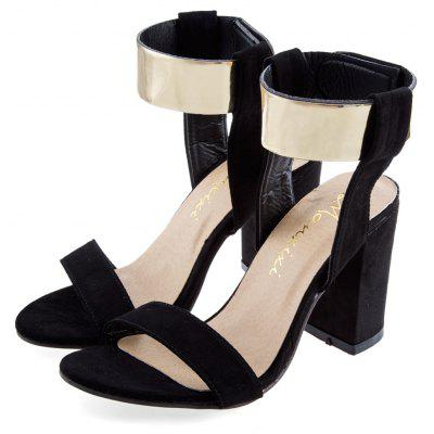 Laides Golden Band Magic Tape Thick High Heel Sandals