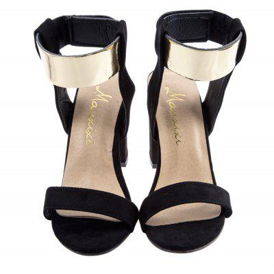 Laides Golden Band Magic Tape Thick High Heel SandalsWomens Sandals<br>Laides Golden Band Magic Tape Thick High Heel Sandals<br><br>Closure Type: Elastic band<br>Gender: For Women<br>Heel Height: 7.5 cm / 2.95 inch<br>Heel Type: Others<br>Occasion: Casual<br>Outsole Material: Rubber<br>Pattern Type: Solid<br>Sandals Style: Gladiator<br>Shoe Width: Medium(B/M)<br>Style: Rome<br>Upper Material: Suede<br>Weight: 0.465kg