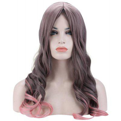 Ombre Long Wavy Curly Gradient Gray Pink Full Wigs
