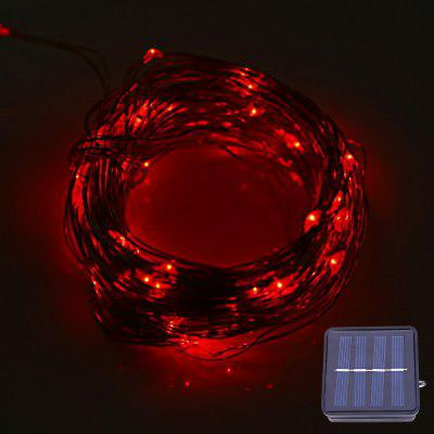Buy RED LIGHT 12M 120 LEDs Solar Powered Copper String Light for $9.64 in GearBest store