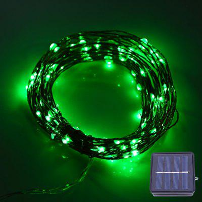 Buy GREEN LIGHT 12M 120 LEDs Solar Powered Copper String Light for $9.88 in GearBest store