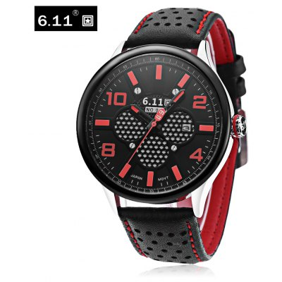 Buy SILVER AND RED 6.11 NO 008 Male Photovoltaic Energy Quartz Watch for $26.37 in GearBest store