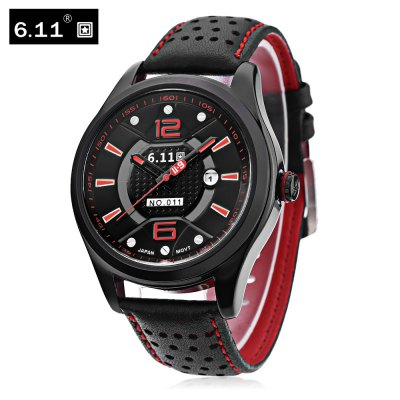 Buy 6.11 NO 011 Male Photovoltaic Energy Quartz Watch RED WITH BLACK for $18.13 in GearBest store