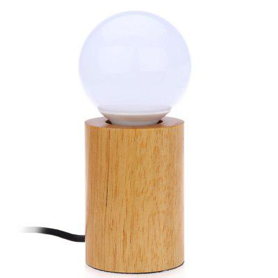 E27 Modern Minimalist Solid Oak Lamp with LED Bulb