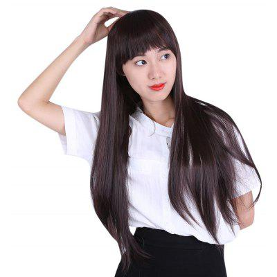 Women Natural Long Straight Hair Wigs Modified Face Bangs