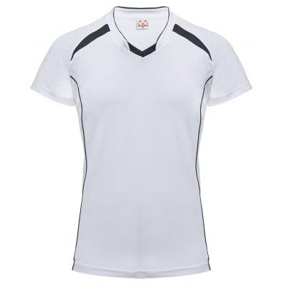 Buy WHITE Male Patchwork V Neck Short Sleeve Breathable Sports Shirt for $15.69 in GearBest store