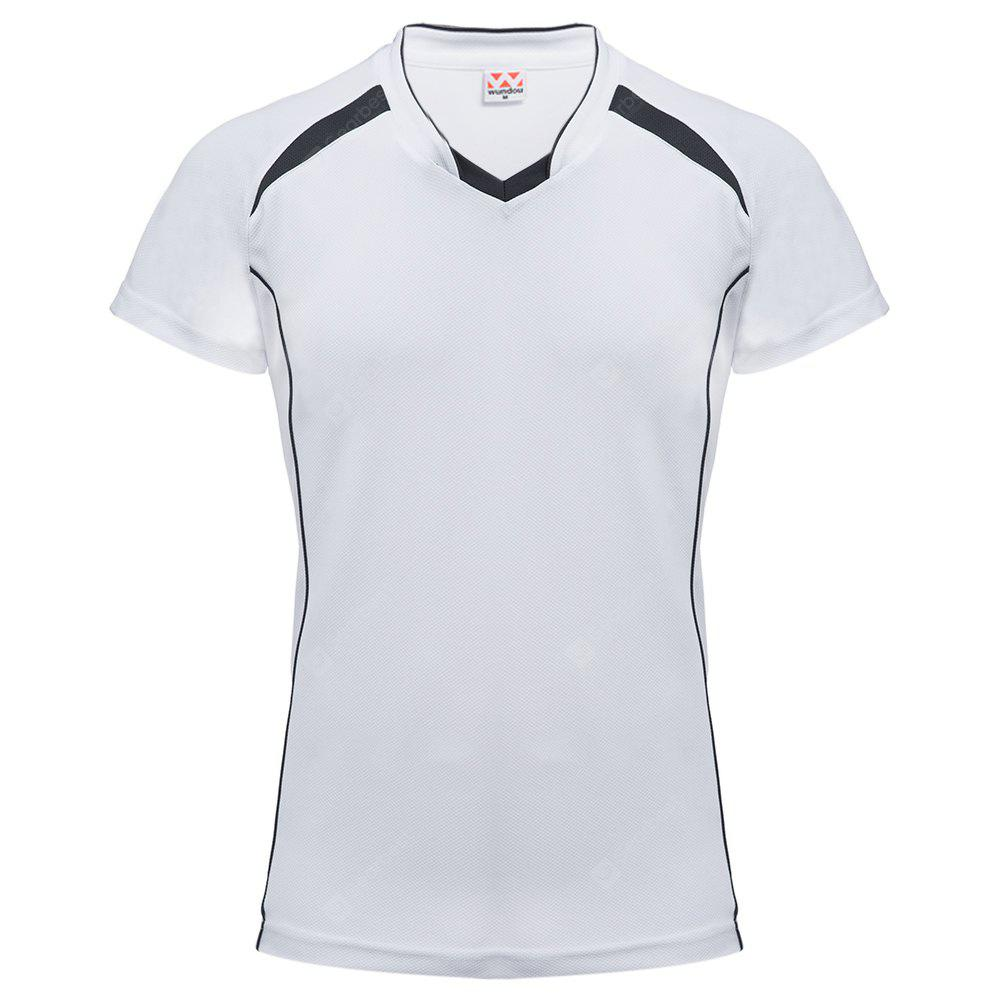 WHITE Male Patchwork V Neck Short Sleeve Breathable Sports Shirt