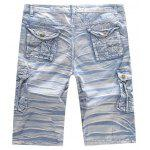 Multi-pocket Mid Waist Moire Men Casual Cargo Shorts - AZUL