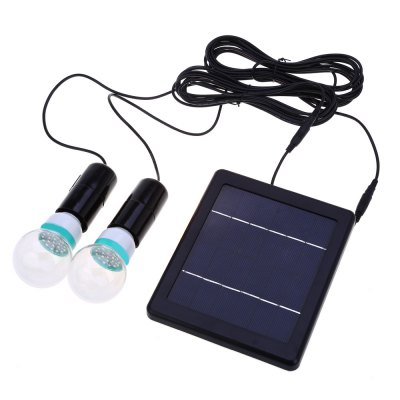 E27 Solar Powered Two LED Bulbs Light