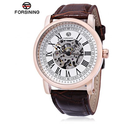 Buy WHITE AND GOLDEN FORSINING TM142 Male Auto Mechanical Watch for $22.20 in GearBest store