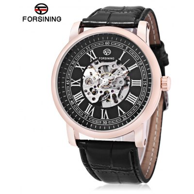 Buy BLACK AND GOLDEN FORSINING TM142 Male Auto Mechanical Watch for $22.20 in GearBest store