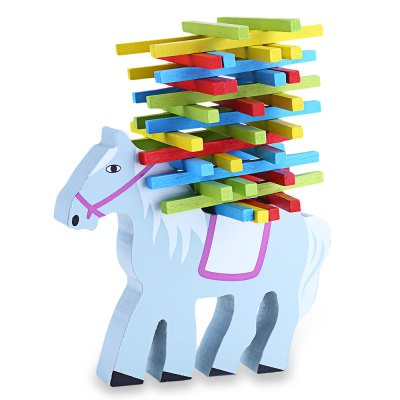 Kids Colorful Lovely Cartoon Horse Animal Shape Balance Beam