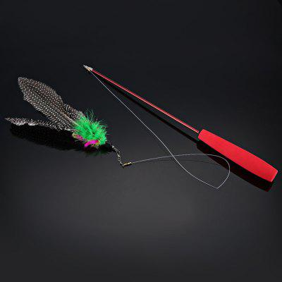 Pet Cat Feather Teaser Retractable Wand Toy