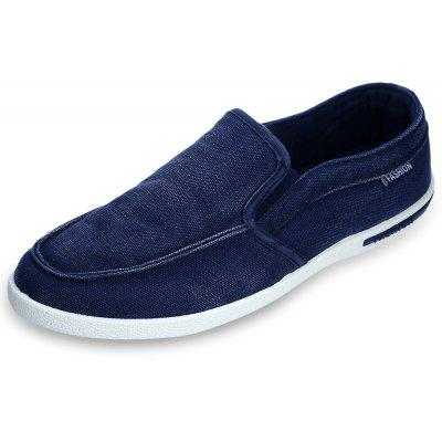 Solid Color Slip On Men Breathable Canvas Shoes