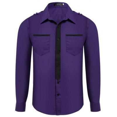 Buy PURPLE Color Block Slim Fit Turn Down Collar Long Sleeve Men Shirt for $16.87 in GearBest store