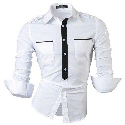 Buy WHITE Color Block Slim Fit Turn Down Collar Long Sleeve Men Shirt for $16.87 in GearBest store
