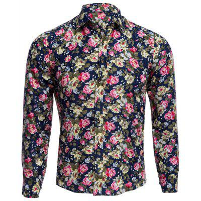 Buy CADETBLUE Floral Print Turn Down Collar Long Sleeve Men Shirt for $14.21 in GearBest store