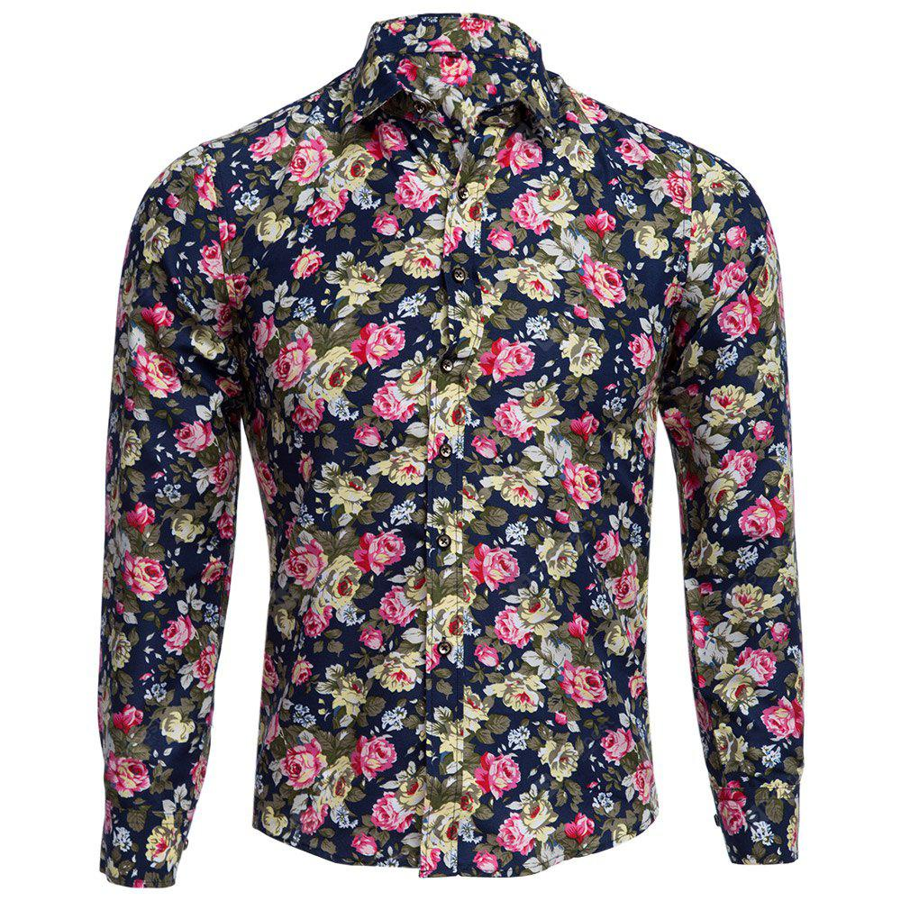 CADETBLUE Floral Print Turn Down Collar Long Sleeve Men Shirt