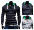 Pocket Design Slim Fit Men Long Sleeve Hoodies - BLUE