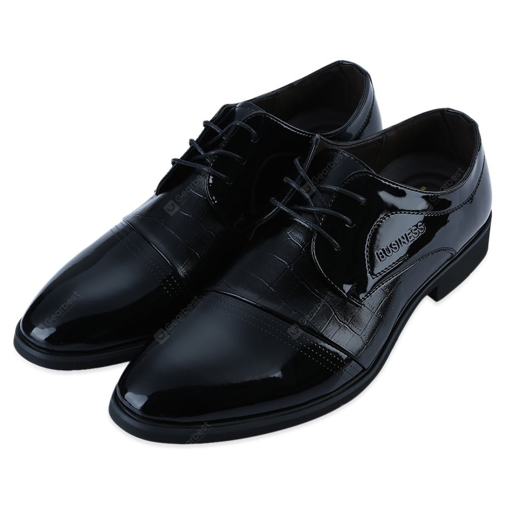 Alligator Pattern Pointed Toe Men Patent Leather Shoes