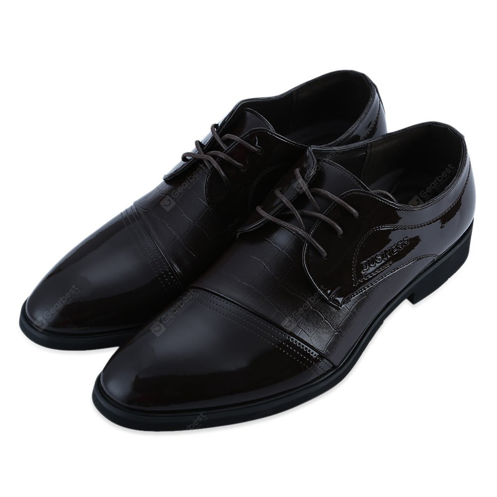 49% OFF Alligator Pattern Pointed Toe Men Patent Leather Shoes