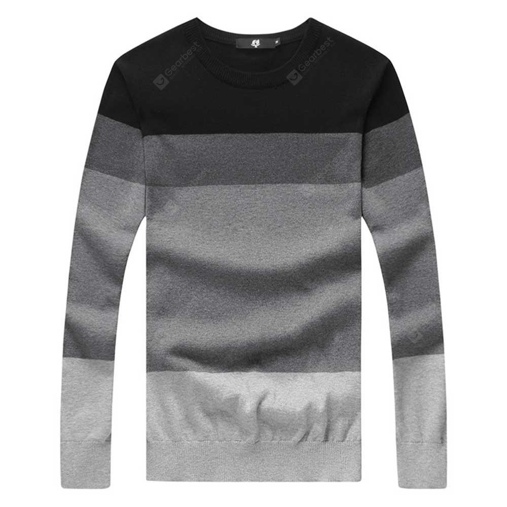 Color Block Round Neck Men Long Sleeve Sweater