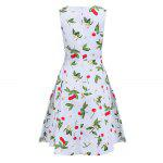 Sweet Round Collar Sleeveless Back Zipper Bowtie Lace-up Patchwork Cherry Print Mid-calf Women A-line Dress - WHITE