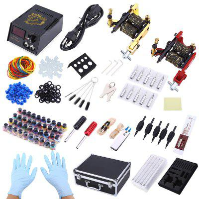 Complete Tattoo Kit 2 Machine Guns Shader Liner 40 Color Inks