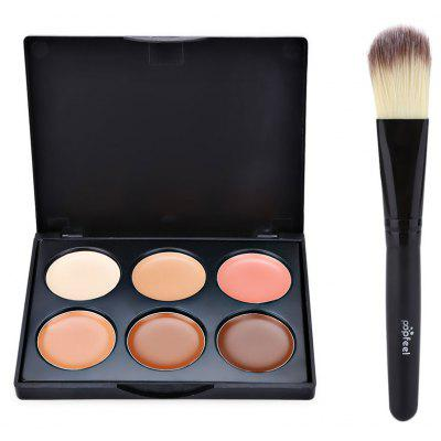 6 Color Foundation Contour Concealer with Powder Brush