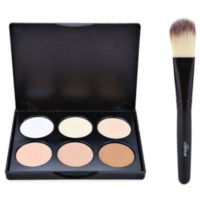 Natural 6 Color Foundation Contour with Powder Brush