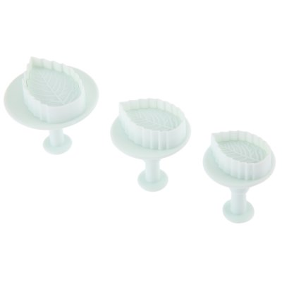 3pcs Plastic Rose Leaf Plunger Fondant Cake Cookie Mold