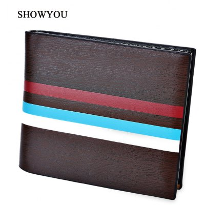 SHOWYOU Stripe Photo Cash Card Holder Short Wallet