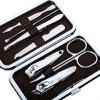 Portable Stainless Steel Nail Clippers Set - BLACK AND BROWN