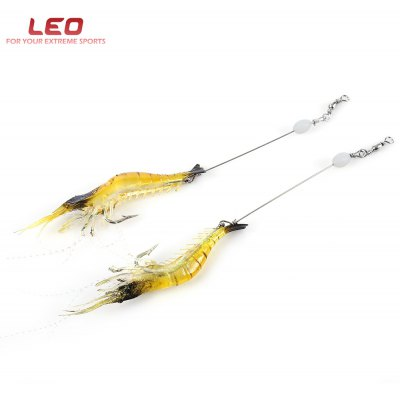 LEO 2pcs Luminous Shrimp Shape Fishing Lure