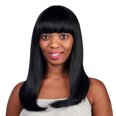 Lady Full Bang Long Straight Layered Synthetic Capless Wig