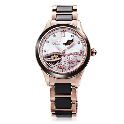 NESUN LS9071 Women Automatic Mechanical WatchWomens Watches<br>NESUN LS9071 Women Automatic Mechanical Watch<br><br>Band Length: 7.87 inch<br>Band Material Type: Ceramic, Stainless Steel<br>Band Width: 16mm<br>Case material: Stainless Steel<br>Case Shape: Round<br>Clasp type: Butterfly Clasp<br>Dial Diameter: 1.38 inch<br>Dial Display: Analog<br>Dial Window Material Type: Sapphire<br>Feature: Moon Phase, Luminous<br>Gender: Women<br>Movement: Automatic Self-Wind<br>Package Contents: 1 x NESUN LS9071 Women Automatic Mechanical Watch<br>Package Size(L x W x H): 10.50 x 11.00 x 7.50 cm / 4.13 x 4.33 x 2.95 inches<br>Package weight: 0.295 kg<br>Product Size(L x W x H): 20.00 x 3.80 x 10.00 cm / 7.87 x 1.5 x 3.94 inches<br>Product weight: 0.096 kg<br>Style: Dress<br>Water Resistance Depth: 50m