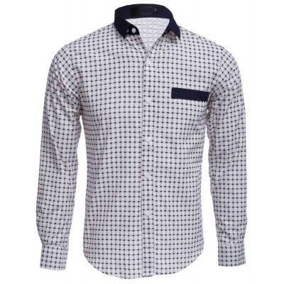 Slim Fit Lattice Turn Down Collar Long Sleeve for Male