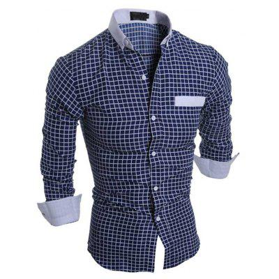 Buy CADETBLUE Slim Fit Lattice Turn Down Collar Long Sleeve for Male for $17.59 in GearBest store